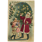 Beautiful Embossed Silk Santa Christmas Postcard Children Doll