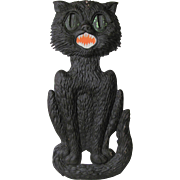 Large Embossed Halloween Seated Black Cat Die Cut German