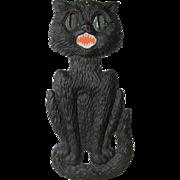 Large Embossed Halloween Seated Black Cat Die Cut German