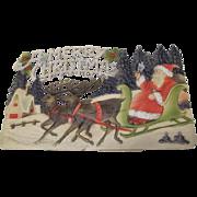 Embossed Santa In Sleigh Two Reindeer Die Cut German