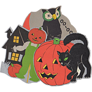 3 Small Halloween Decorations Owl Scarecrow Cat w. JOL