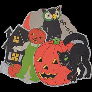 3 Small Halloween Decorations Owl Scarecrow Cat w. JOL