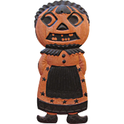Small Halloween JOL Maid With Bangs Heavily Embossed German Die-Cut