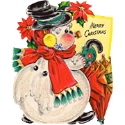 1948 Die-Cut Hallmark Snowman Christmas Stand-Up Card