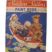 1941 Little Soldiers & Sailors Paint Book Unused