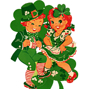 St Patrick's Day Boy Girl Shamrock Cutout Decorations