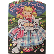 1953 Sweet Alice Blue-Pink Coloring Book Unused