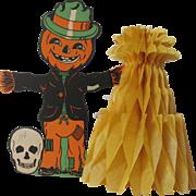 Halloween Scarecrow Skull Honeycomb Corn Stalks