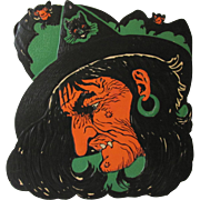 Large Embossed Ugly Halloween Witch Face Die Cut USA