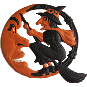 Small Halloween Witch On Crescent Moon Embossed Die-Cut