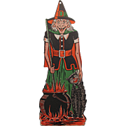 Halloween Embossed Witch with Cauldron Black Cat Die Cut