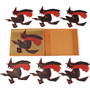 Halloween Dennison Set of 6 Flying Witch Seals in Box