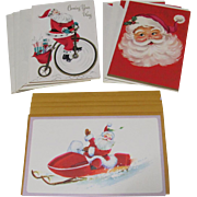 12 Christmas Cards w. Envelopes Santa