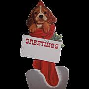 Puppy In Red Christmas Stocking Cardboard Die-Cut