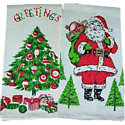 Vintage Pair Christmas Dish Towels Santa & Christmas Tree