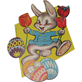 Easter Rabbit Eggs Red Tulips Beistle Cutout Decoration