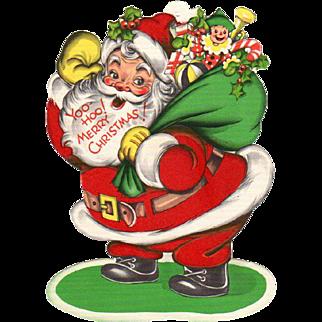 Yoo Hoo Merry Christmas Santa Card Self Standing