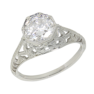 Vintage Filigree Art Deco Style 18kt 18 Karat White Gold 1.65 Ct Diamond Solitaire Engagement Ring