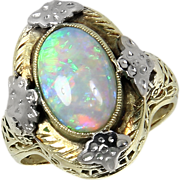 Vintage 14kt 14 Karat Yellow White Gold Filigree Opal Ring
