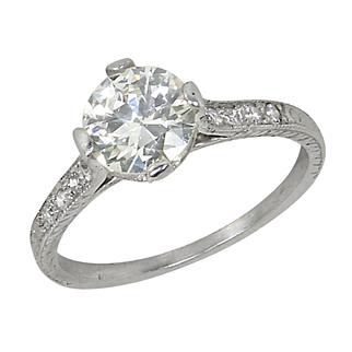 Vintage Platinum 1.15 Ct Diamond Solitaire Engagement Ring