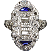 Exquisite Art Deco 14 kt 14 Karat White Gold Filigree Diamond and Sapphire Navette Ring