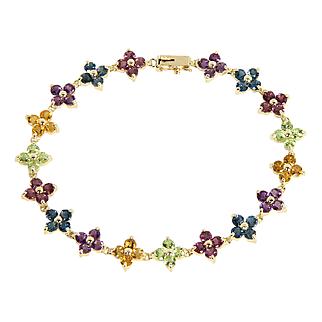 Estate 14k 14 Karat Yellow Gold 6.29 Carat Amethyst Topaz Peridot Citrine Gemstone Flower Bracelet
