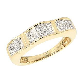 Beautiful Estate 14 K 14 Karat  1.20 Carat Princess Cut Diamond Wedding Anniversary Band Ring