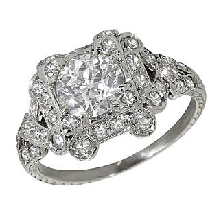 Art Deco Platinum 1.82 Carat Diamond Solitaire Engagement Ring