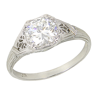 Vintage Filigree Art Deco Style 18kt 18 Karat White Gold 1.13 Ct Diamond Solitaire Engagement Ring