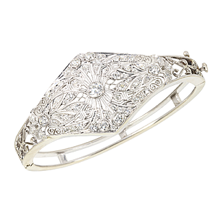 Vintage Art Deco Filigree Platinum 14 kt 14 Karat White Gold 3.00 Ct Diamond Bangle Bracelet