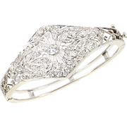 Vintage Art Deco Filigree Platinum 14 kt 14 Karat White Gold 3.00 Ct Diamond Bangle Bracelet