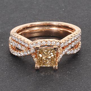 Estate 14 Kt Rose Gold Cognac Princess Cut Diamond Engagement Ring Wedding Band Set