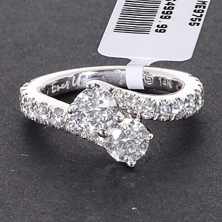 Zales 14K White Gold Ever Us 2 CT. Two-Stone Diamond Bypass Engagement Ring