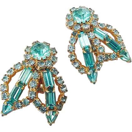 BG131 Big Amazing Sea Blue Crystal Rhinestone Designer Earrings Gold Tone Clip On Backs Vintage