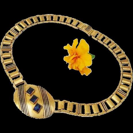 BG121 Victorian Antique Chased Bookchain Enamel Sapphire Glass pendant Choker Necklace Gold Gilt