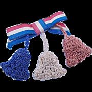 BG163 World War II Sweetheart Homefront Pin Patriotic Victory Brooch Ribbon with Crochet Bells WW2