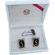 BG101 Hickok Hematite S Initial Letter Cufflinks & Tie Bar Clasp Clip Vintage in Original Box