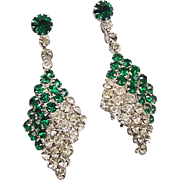 BG114 Art Deco Dangle Drop Emerald Green & Ice Clear Crystal Rhinestone 2inch Earrings Clip On Vintage
