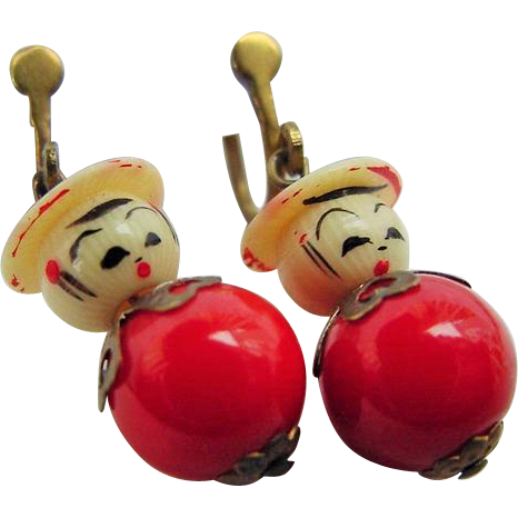 BG104 Art Deco Hand Painted Asian Oriental Japanese Kokeshi Doll Earrings Celluloid French Ivory