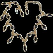 BG371 Vintage Crystal Bezel Set Black Gleaming Gold Choker Necklace
