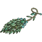 BG35 4.75inch Huge ART DECO Rhinestone Brooch Pin Baby Blue & Aquamarine Vintage