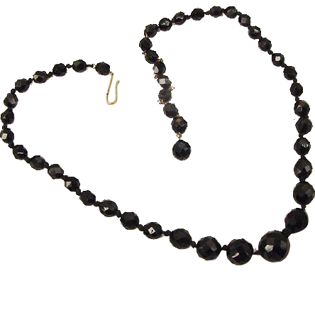BG220 Made in West Germany Classy Black Facetted Crystal Graduated Glass Bead Necklace Choker Vintage