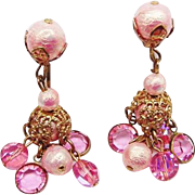 BG264 Bezel Set Crystal Pink Filigree Dangle Drop Chandelier Earrings Clip Ons Vintage