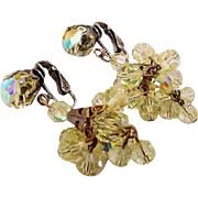 BG117 Lemonade Yellow Sparkle Crystal Facetted AB Earrings Chandelier Dangle Drops Clips Vintage