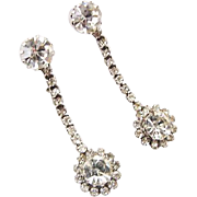 BG198 Lovely Bright Crystal Ice Clear Rhinestone Silver Clip Ons 2.10inches Dangle Drops