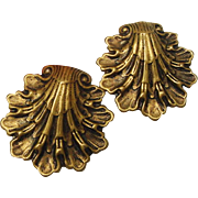 Antique Edwardian Art Nouveau Brass Clamshell Repousse Sash Dress Fur Clips Set