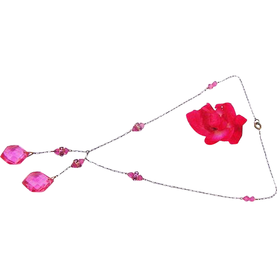 BG44 Art Deco Czechoslovakia Hot Pink Crystal Drops with Hot Pink Rondelles Paperclip Chain Czech
