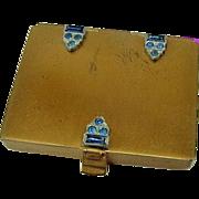 BG235 Art Deco Jules Richard Mirror Compact Crystal Rhinestone Face Powder Foundation Make Up Vintage