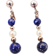 BG367 Vintage Clip On Dangle Earrings 925 Sterling Silver Genuine Pearls Cobalt Lapis Lazuli & Crystal Drops