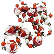 BG82 Art Deco Venetian Murano or Czech Art Glass Rust Orange Swirl and White Marbled Graduated Bead Vintage Necklace